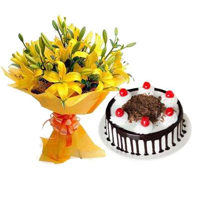 Yellow Lily & Black Forest Cake