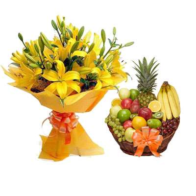 Yellow Lily & Fruit Basket