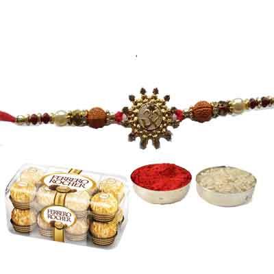 Beautiful Om Rakhi For Brother With Ferrero