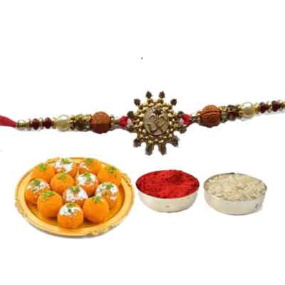 Beautiful Om Rakhi For Brother With Laddo