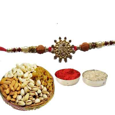 Beautiful Om Rakhi For Brother With Mix Dry Fruits
