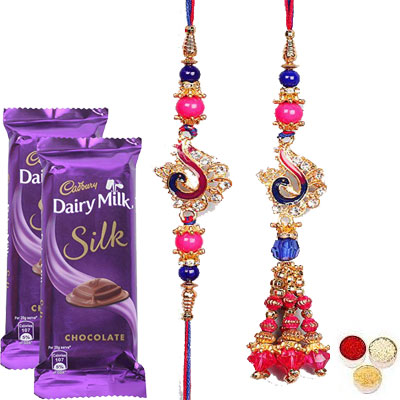 Lumba Rakhi For Brother Bhabi With Silk