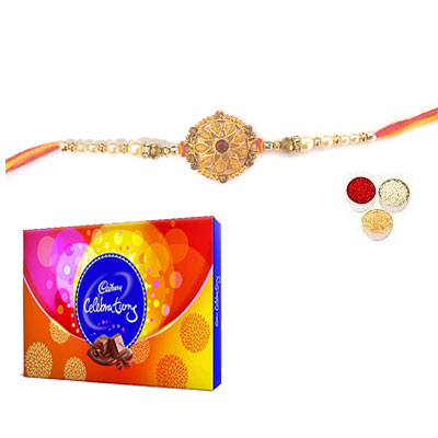 Well Designed Rakhi With Celebration