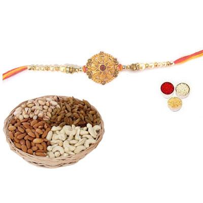 Well Designed Rakhi With Mix Dry Fruits