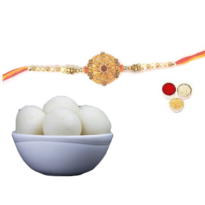 Well Designed Rakhi With Rasgulla