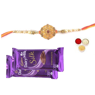 Well Designed Rakhi With Silk