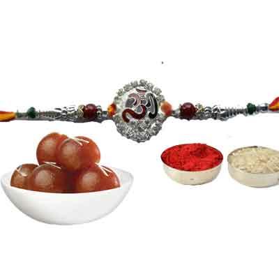 Silver Om Rakhi With Gulab Jamun