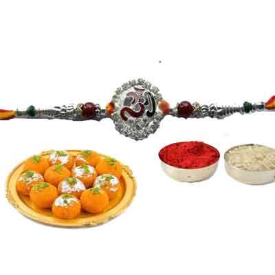 Silver Om Rakhi With laddu