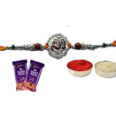 Silver Om Rakhi With Silk