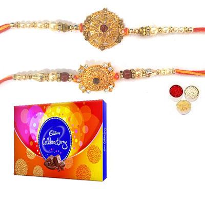 Set Of 2 Designer Rakhi With Celebration