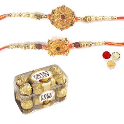 Set Of 2 Designer Rakhi With Ferrero