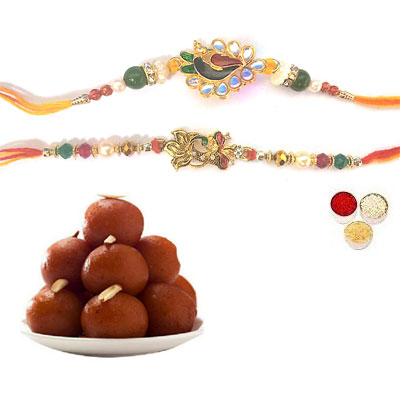 Set Of 2 Peacock Rakhi With Gulab Jamun