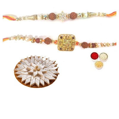 Set Of 2 Rudraksha Rakhi With Kaju Katli