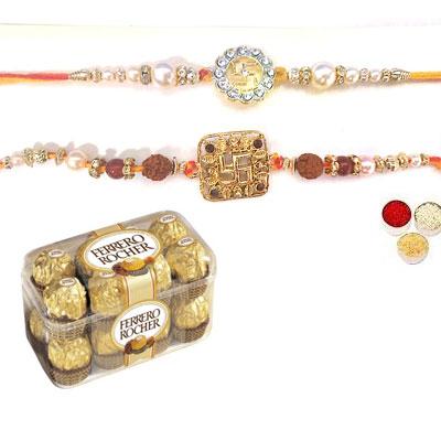 Set Of 2 Swastik Rakhi With Ferrero
