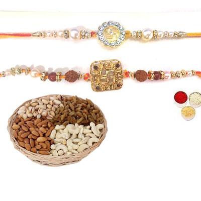 Set Of 2 Swastik Rakhi With Mix Dry Fruits