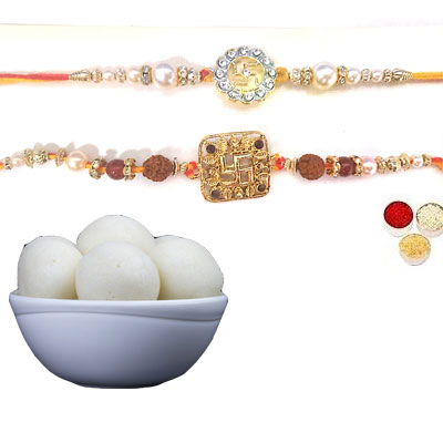 Set Of 2 Swastik Rakhi With Rasgulla