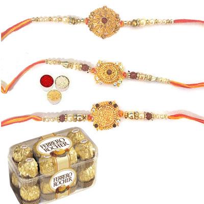 Set Of 3 Designer Rakhi With Ferrero