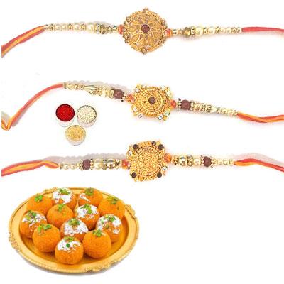 Set Of 3 Designer Rakhi With Laddu