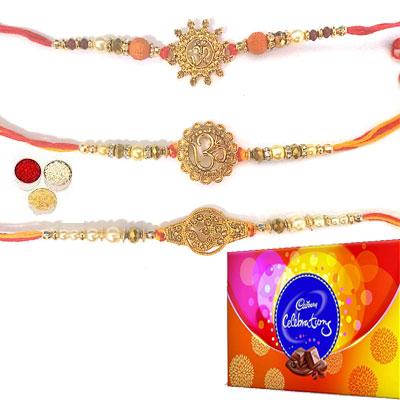 Set Of 3 Om Rakhi With Celebration