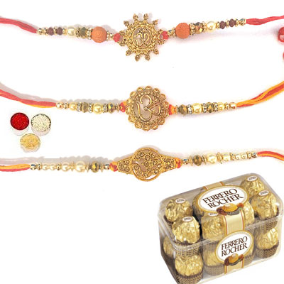 Set Of 3 Om Rakhi With Ferrero