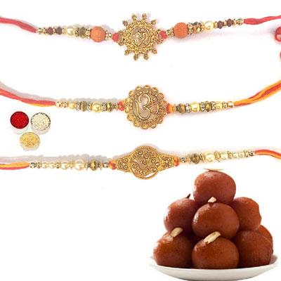 Set Of 3 Om Rakhi With Gulab Jamun