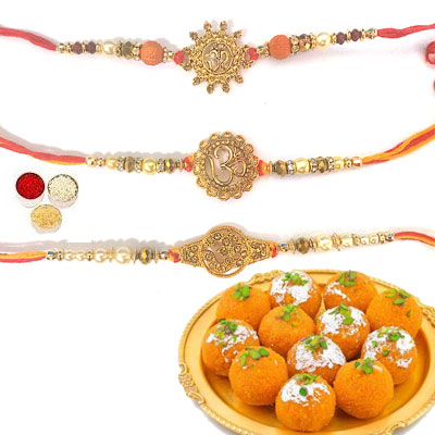 Set Of 3 Om Rakhi With Laddu