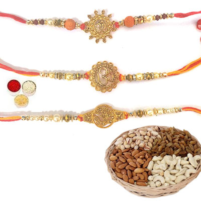 Set Of 3 Om Rakhi With Mix Dry Fruits
