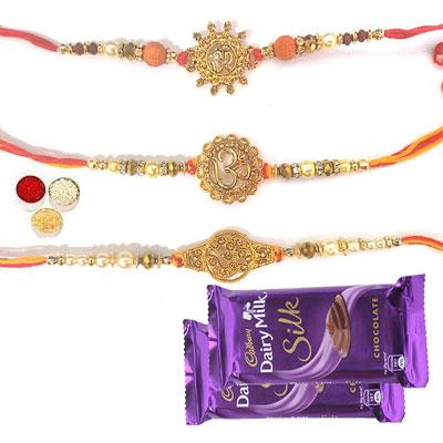 Set Of 3 Om Rakhi With Silk