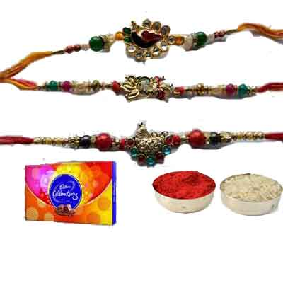 Set Of 3 Peacock Rakhi With Celebration