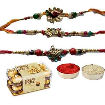 Set Of 3 Peacock Rakhi With Ferrero
