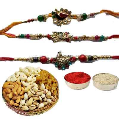 Set Of 3 Peacock Rakhi With Mix Dry Fruits