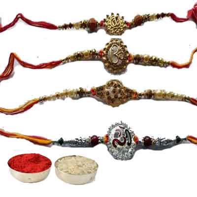 Set Of 4 Om Rakhi