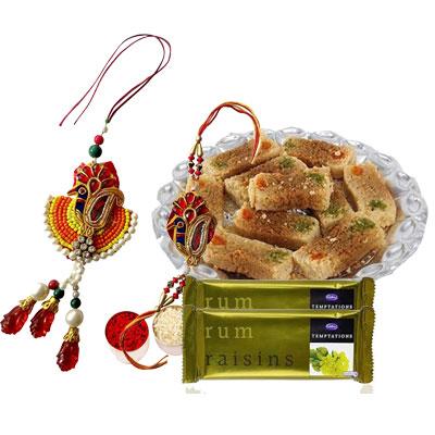 Lumba Rakhi with Milk Cake & Rum Raisins Temptations