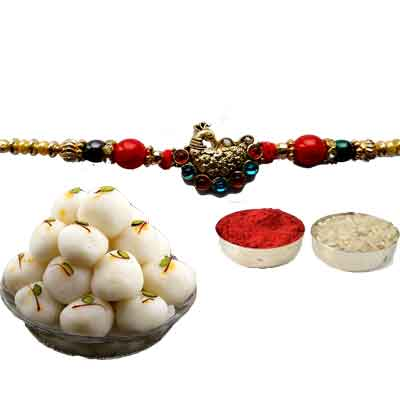 Peacock Rakhi For Brother With Rasgulla