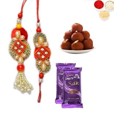 Designer Bhaiya Bhabhi Rakhi, Silk & Gulab Jamun