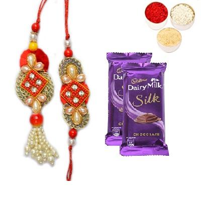 Designer Bhaiya Bhabhi Rakhi With Silk