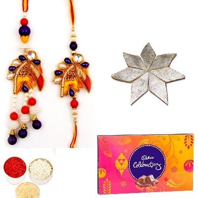 Designer Diamond Bhaiya Bhabhi Rakhi, Celebration & Kaju Katli