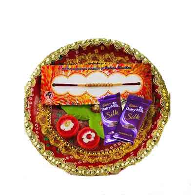 Beautiful Rakhi Thali with Silk