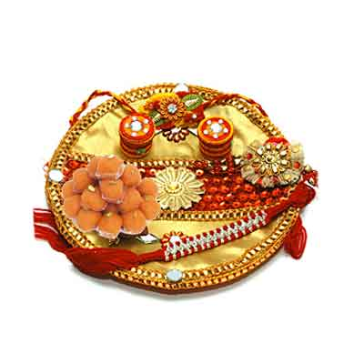 Decorated Rakhi Thali with Laddu