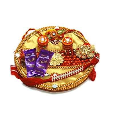 Decorated Rakhi Thali with Silk