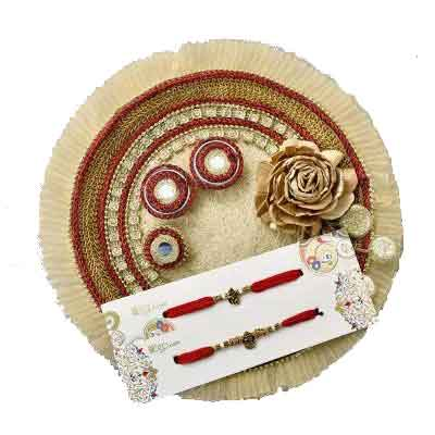 Fancy Rakhi Thali with 2 Rakhi set