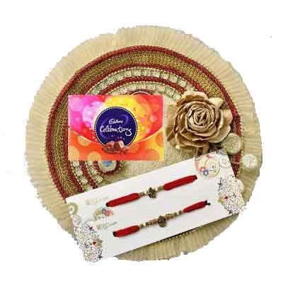 Fancy Rakhi Thali with 2 Rakhi Set & Celebration