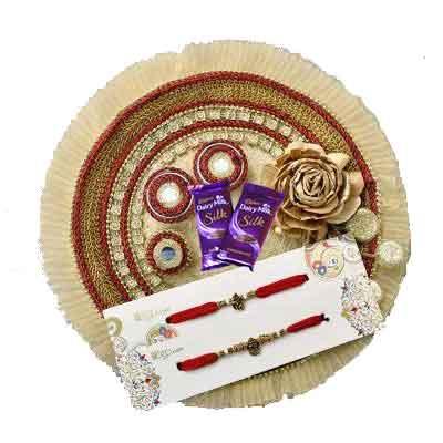 Fancy Rakhi Thali with 2 Rakhi Set, Silk