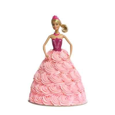 Ballerina Pink Swirl Barbie Doll Cake