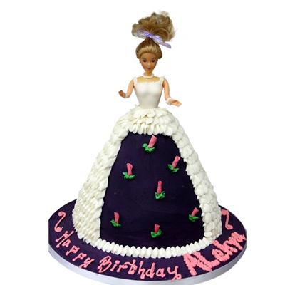 Panel Dress Doll Shaped Birthday Cake
