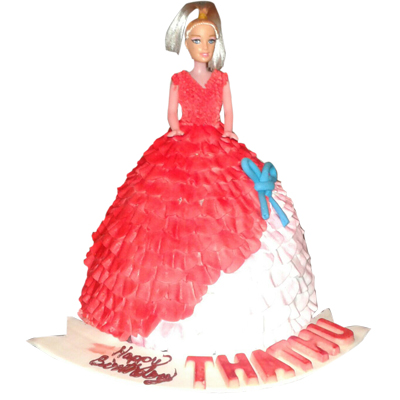 Red Barbie Doll Cake