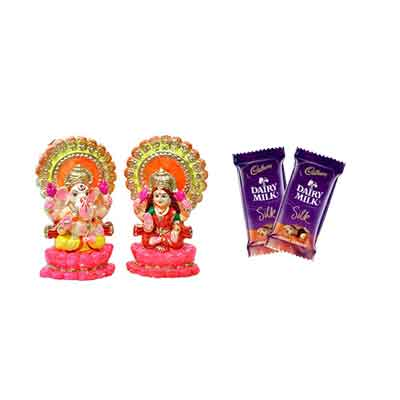 Laxmi Ganesh Idols with Silk