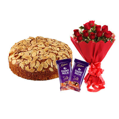 Almonds Dry Cake with Bouquet and Silk