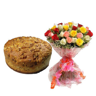 Walnut Dry Cake with Mix Bouquet