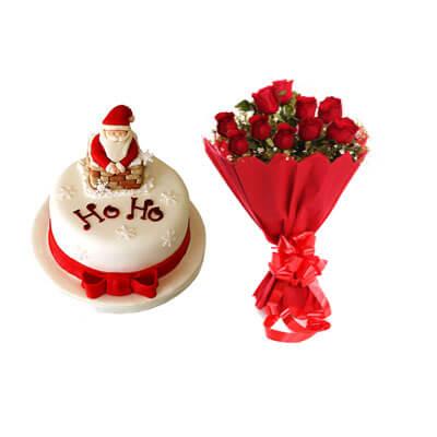 Ho Ho Christmas Cake with Bouquet